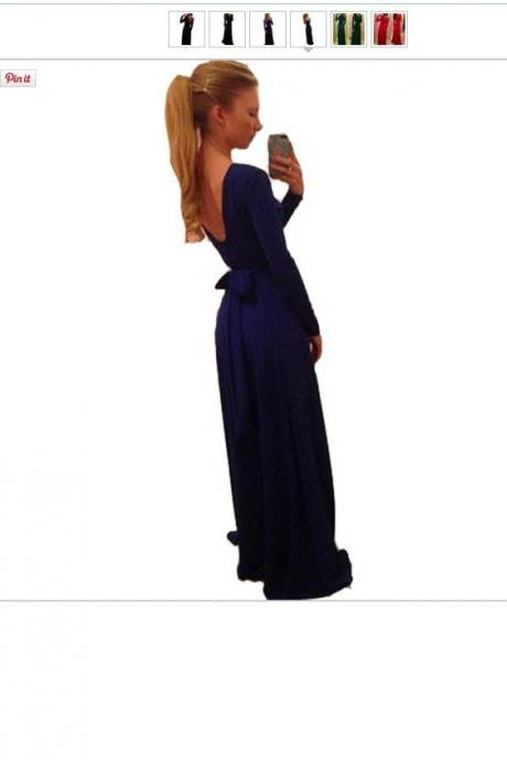Sexy Long Sleeve V Back Maxi Dress