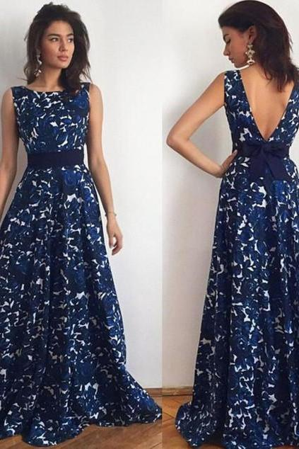 Backless Floral Printing Evening Long Dress