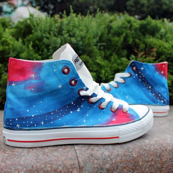 Blue Stars Oil Painting Pattern Hand Painted High Top Canvas Sneakers