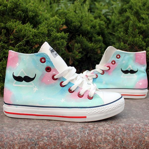 Blue Mustache Pattern Hand Painted High Top Canvas Sneakers