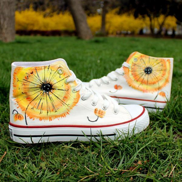 White Dandelion Pattern Hand Painted High Top Canvas Sneakers