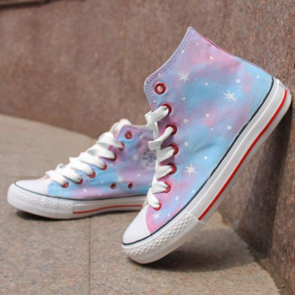 Pink Stars Pattern Tie Dye Hand Painted High Top Canvas Sneakers
