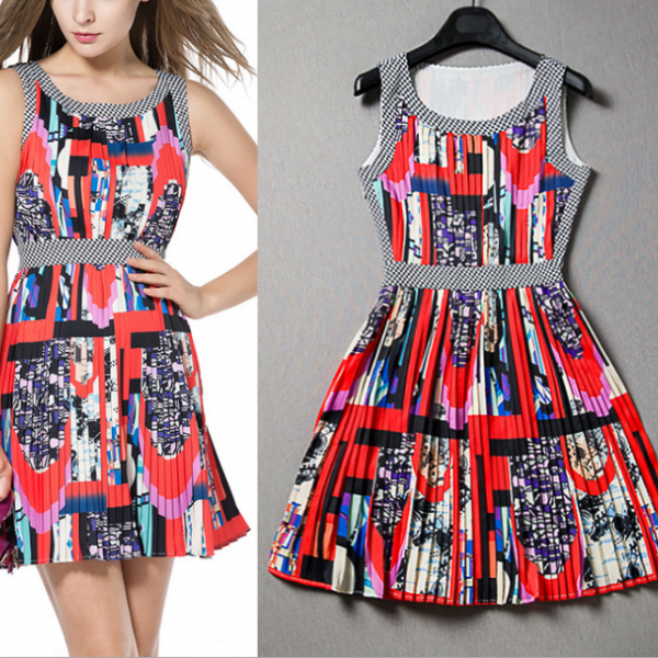 2015 vintage pressure plait print dress