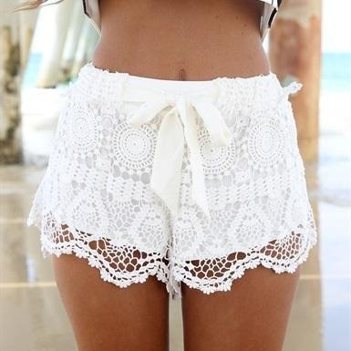 2015 Milla Crochet Lace Shorts Bow