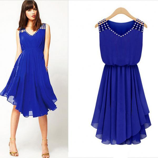 Sweet Blue V-Neck Solid Chiffon Knee-Length Sleeveless Pleated Dress
