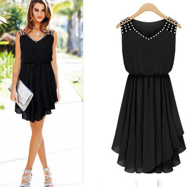 Casual Black V-Neck Solid Chiffon Knee-Length Sleeveless Pleated Dress