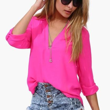 Women's New Rose Red Solid Chiffon Shirt