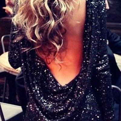 Sexy O Neck Long Sleeve Backless Sequined Black Polyester Sheath Mini Dress