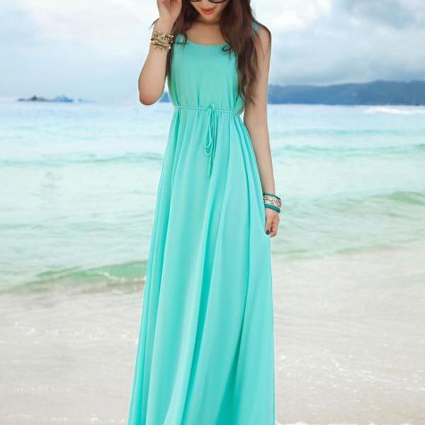 Sexy Girl Beach Wear Solid Color Gowns Sleeveless Round Neck Maxi Dress