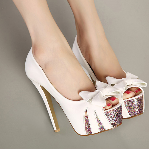 Fashion Round Peep Toe Bow-Tie Designed Platform Stiletto Super High Heels White PU Basic Pumps