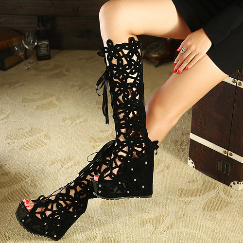 Summer Round Toe Wedge High Heel Lace Up Knee High Back PU Martens Boots