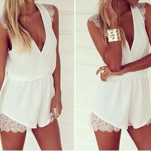 New Hot Lady Summer Sexy Trumpet WITH LACE Summer Beach Dress Playsuit Jumpsuits