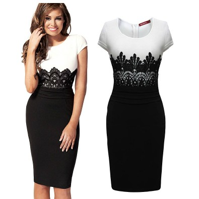 Sexy O Neck Cap Sleeve Short Sleeve Sheath Black Polyester Knee Length Pencil Dress