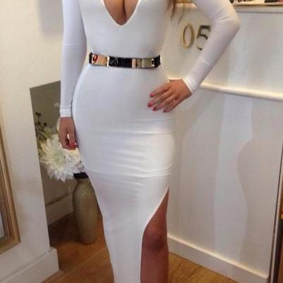 Sexy V Neck Long Sleeve Side Split White Polyester Sheath Ankle Length Dress
