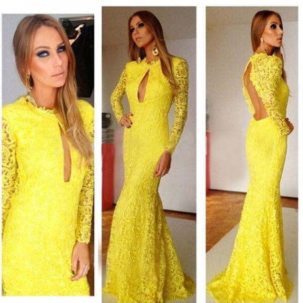 Attractive Yellow Long Sleeve Lace Evening Formal Dress Sexy Backless Prom Gowns