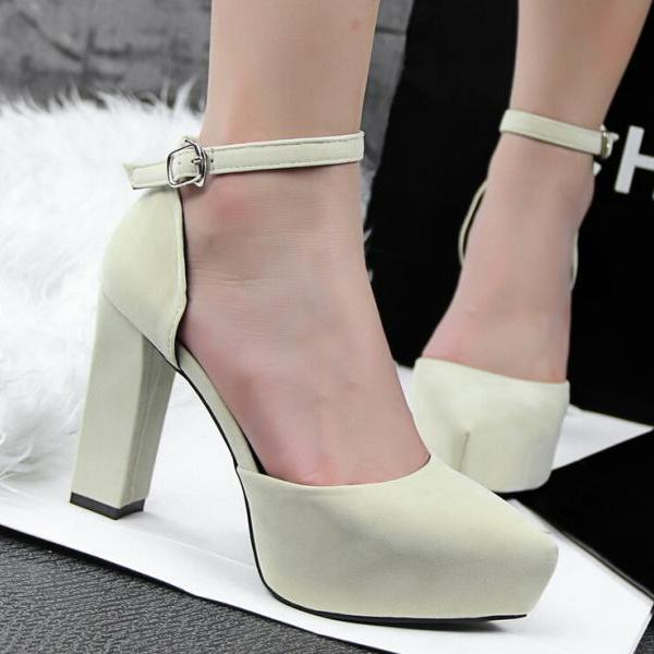 2015 in Europe and the contracted thick with high heel suede pointed one word with OL vocational apricot stiletto sandals