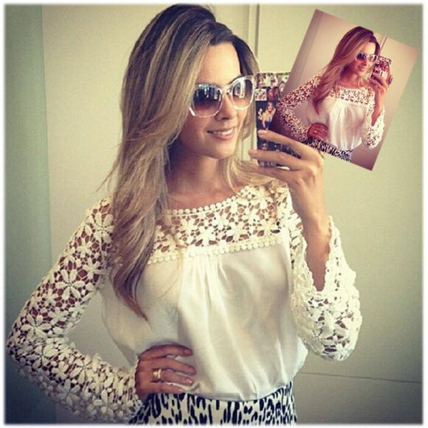New Fashion Women White Sleeve Embroidery Lace Crochet Tee Lace Shirt Top Blouse