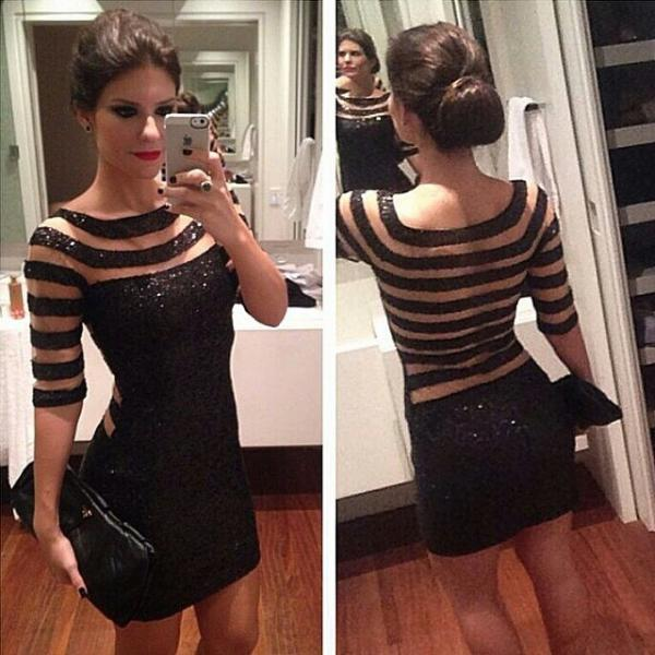 Sexy Women Short Sleeve Stripes Formal Slim Party Evening Cocktail Mini Dress