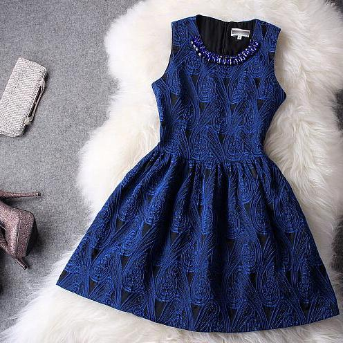 Vintage embroidered vest skirt dress blue dress