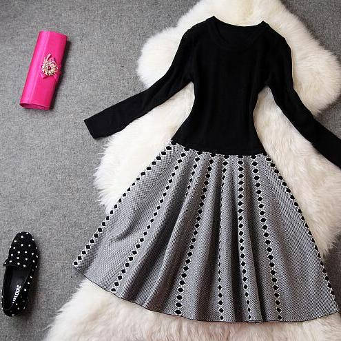 Fashion knitting elasticity of cultivate one's morality long-sleeved dress