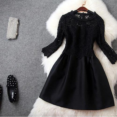 Water soluble embroidery black dress
