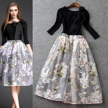 Fashion printing black organza long bitter fleabane bitter fleabane dress dress