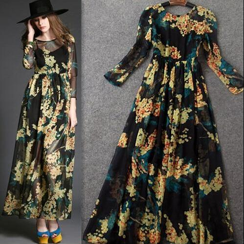 Fashion and elegant yellow printed nine points sleeve cultivate one's morality dress dress