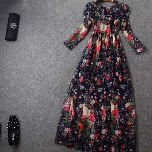 Fashion and elegant red printing nine points sleeve cultivate one's morality dress dress