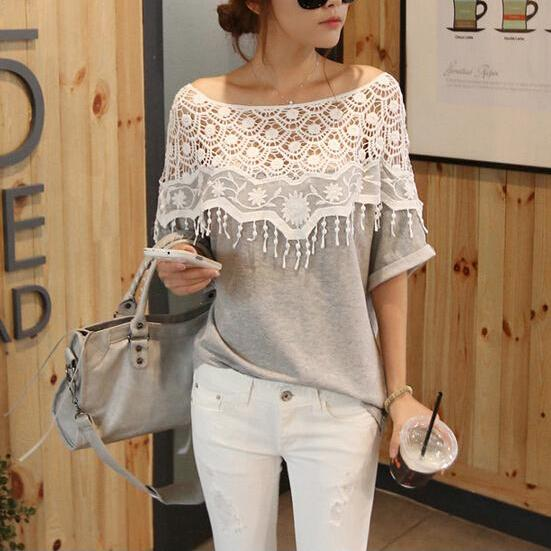 Women's Spring Summer Fashion Short Sleeve Crochet Tassel Casual T-Shirt Top