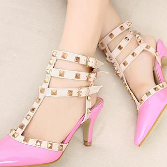 Rivets Pointed Toe High Heel Sandals