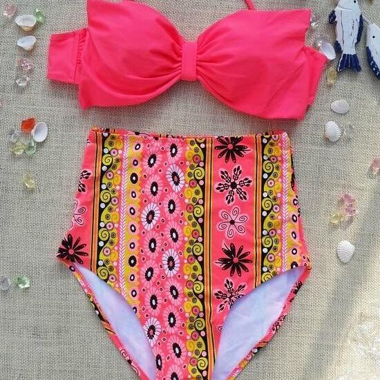 Retro Polka Dot Halter Swimsuit