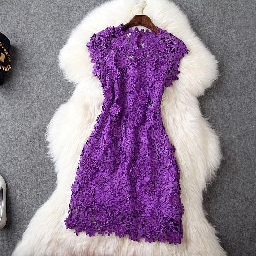 Embroidery Elegance Purple Dress