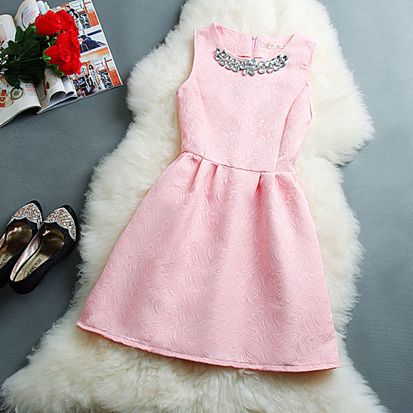 Elegant Pink Sleeveless Vest Skirt Dress