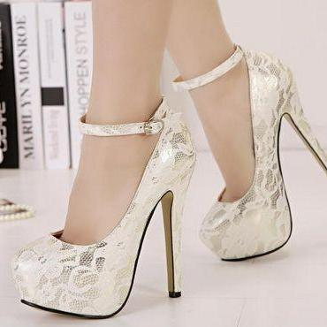 Classy White Lace Ankle Strap Design High Heels Fashion Shoes