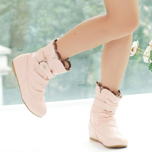 Pink Round Toe Warm Winter Boots