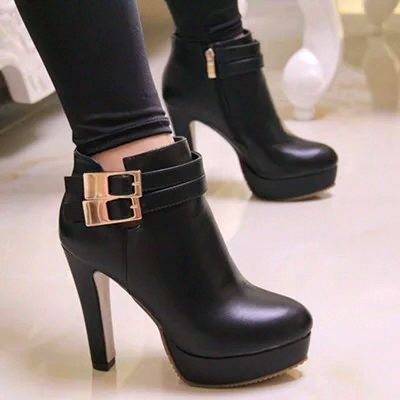 Classy black Buckle Design High Heel Winter Boots