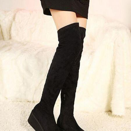Black Faux Suede Rounded-Toe Platform Over-The-Knee Boots