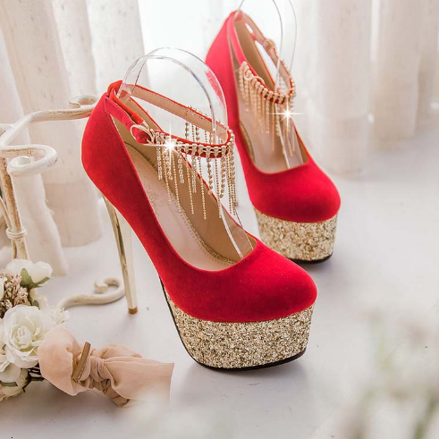 Elegant Rhinestone Embellished Metallic High Heels In Black And Red
