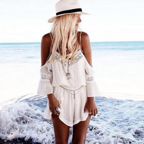 Off Shoulder White Romper with Lace