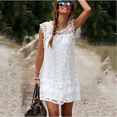 Casual White Lace Summer Dress